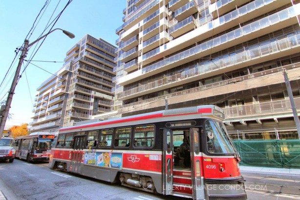 TTC streetcar and bus stop right in front of the DNA3 condos at 1030 King St W