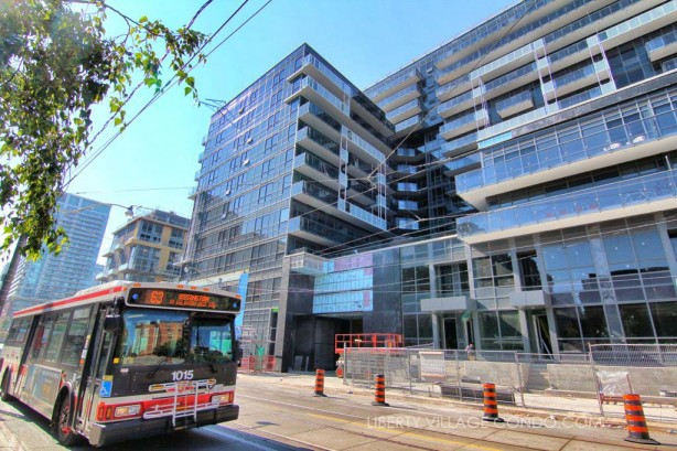 The 63 Ossington Bus stops in front of DNA3 Condos on Shaw St