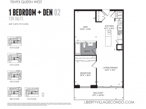 1093 Queen St W 1 bedroom and den floor plan 720 sq ft 02