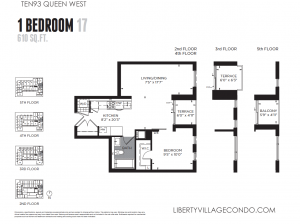 1093 Queen St W condo for sale 1 bedroom 17 610 sq ft floor plan