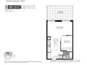 1093 Queen St W preconstruction condo 1 bedroom 685 sq ft floor plan 10-11-12