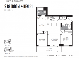 1093 Queen St W preconstruction floor plan 21 for 2 bedroom + den 875 sq ft