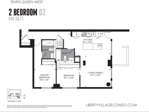 1093 Queen St West 2 bedroom 2 bath condo floor plan 02 895 sq ft