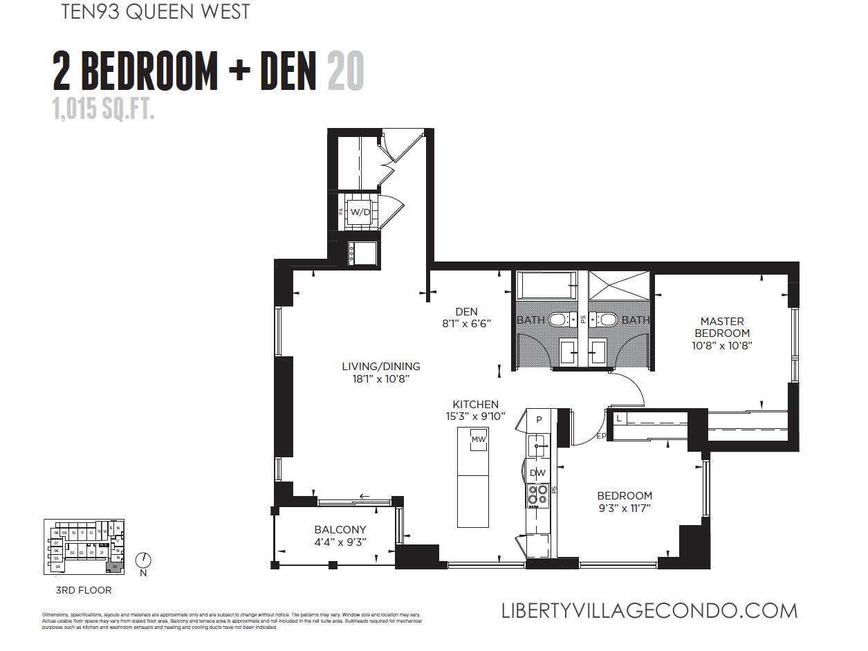 ten93 queen west pre construction condo liberty village condo 1093 queen st west condo for sale floor plan 2 bedroom den 1015 sq ft
