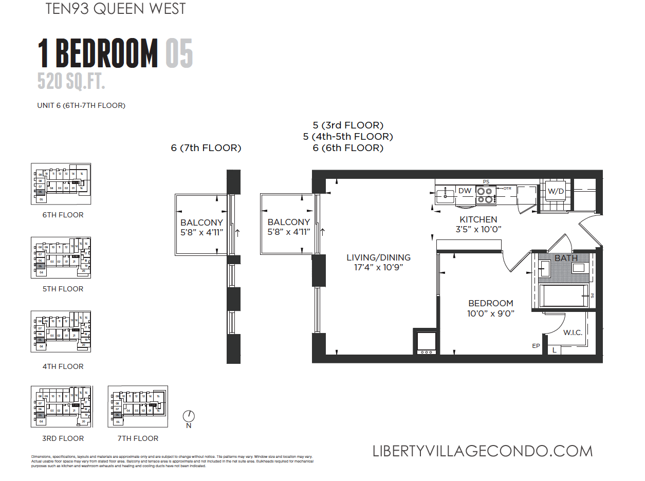Ten93 queen west pre construction condo liberty village for 1 bedroom floor plans