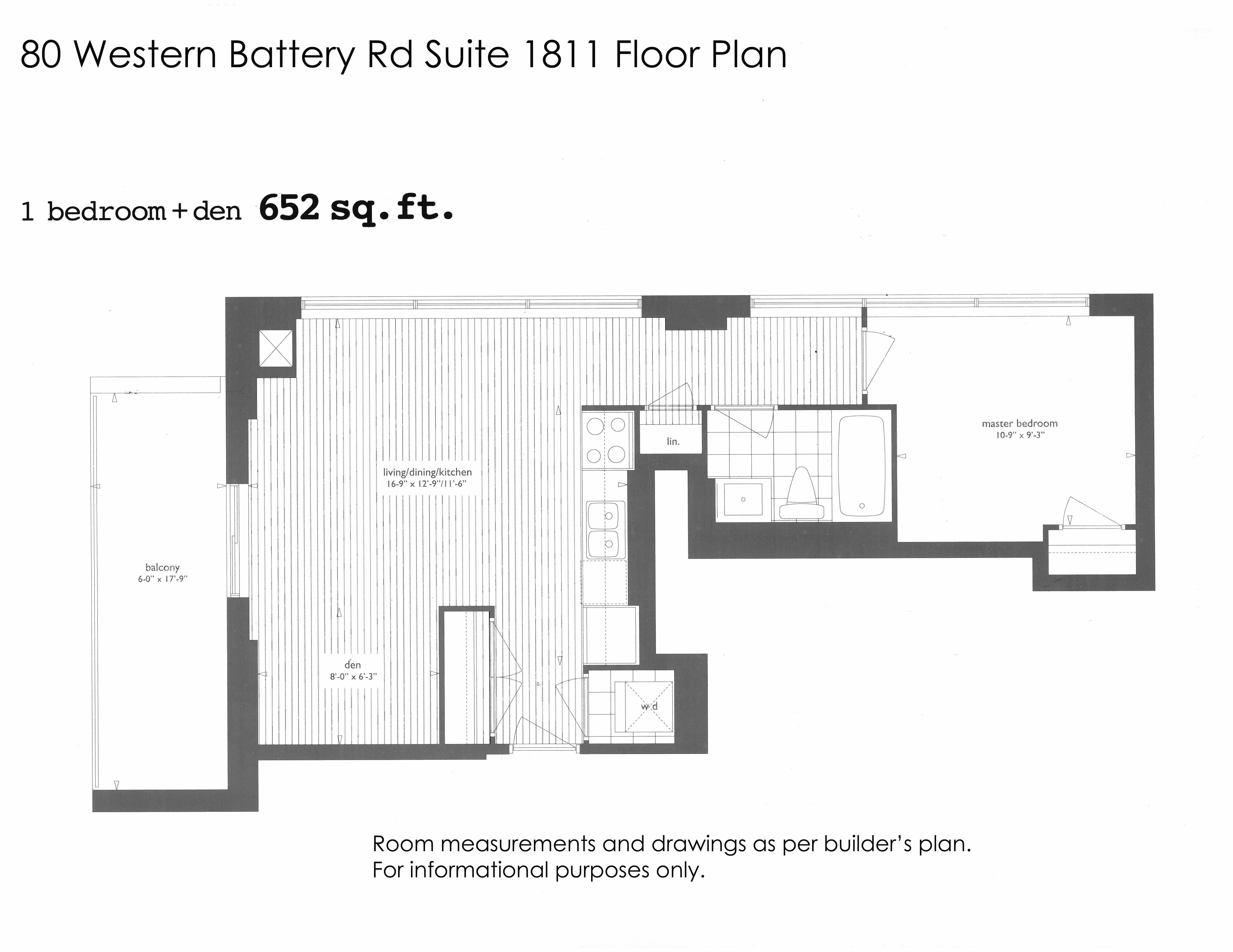 1 bedroom den corner suite for sale in liberty village for Western floor plans