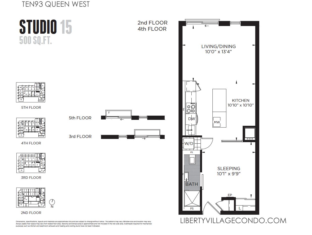 Ten93 queen west pre construction condo liberty village for Studio floor plans