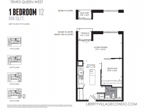 TEN93 Queen W new construction 1 bedroom condo 600 sq ft floor plan 12