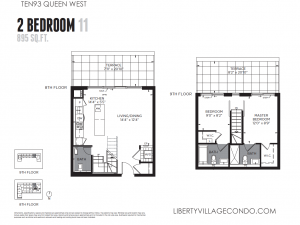 Ten 93 Queen St W 2 bedroom 2 level terrace floor plan 11 895 sq ft