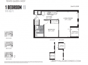 Ten 93 Queen West 1 bedroom 19 515 sq ft floor plan