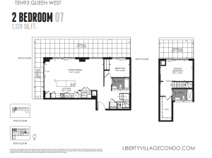 Ten93 2 bedroom 2 level condo 1120 sq ft floor plan 07