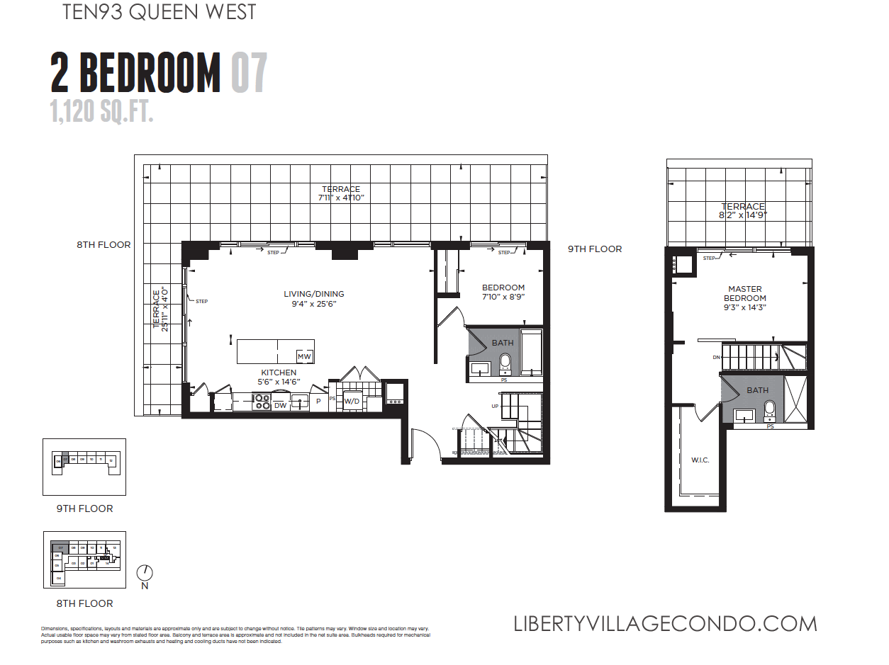 Ten93 queen west pre construction condo liberty village for Floor plan 2 bedroom