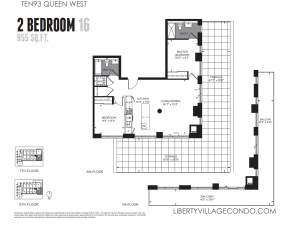 Ten93 Queen 2 bedroom 2 bath corner unit 955 square feet floor plan 16