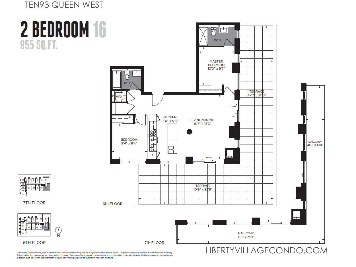 Ten93 queen west pre construction condo liberty village for 2 bedroom 2 bath condo floor plans