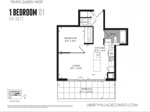 Ten93 Queen St W 1 bedroom floor plan 01 515 square feet