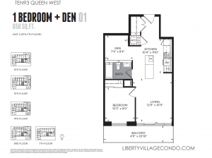 Ten93 Queen St West 1+den condo floor plan 650 sq ft 01
