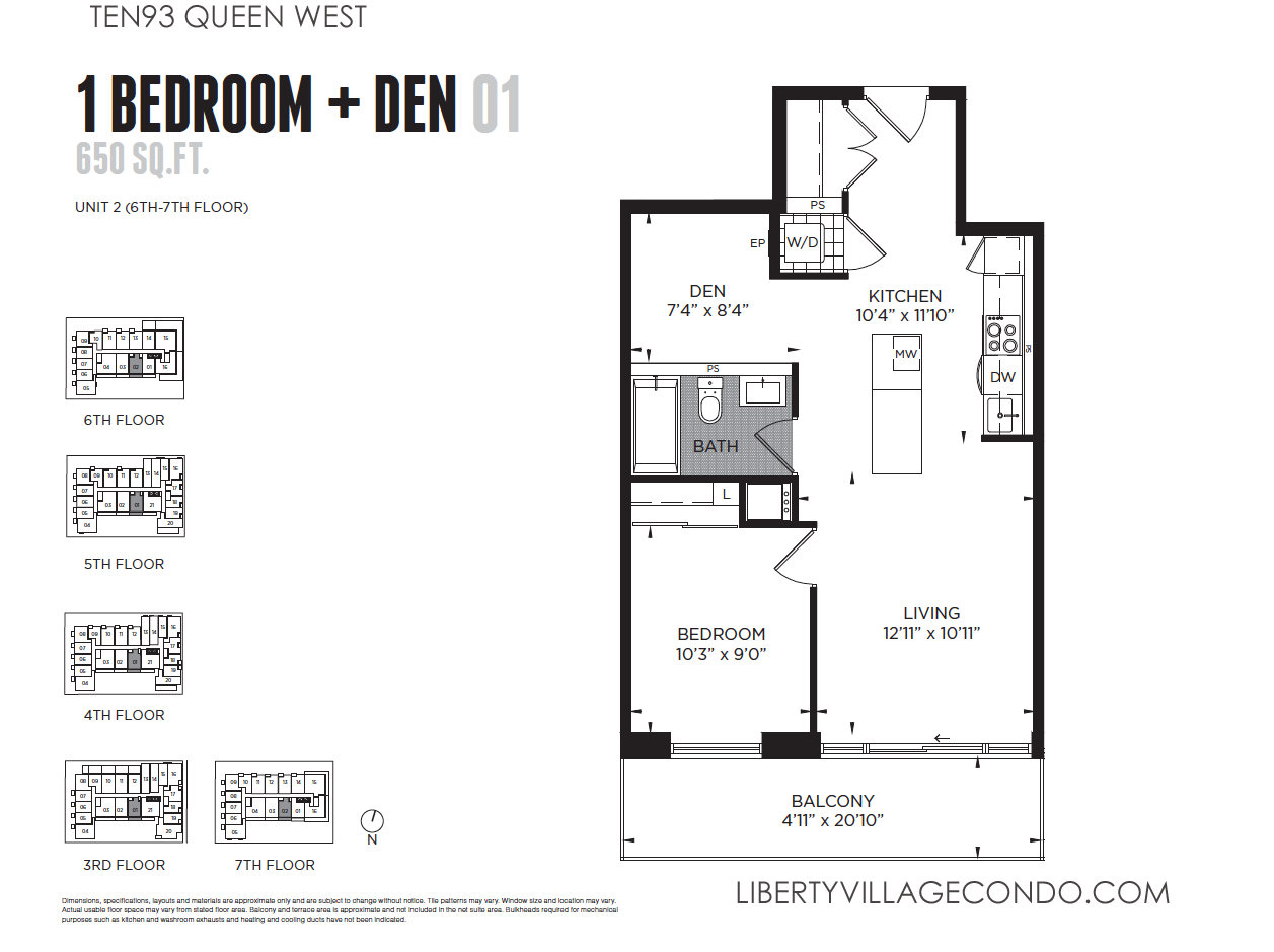 Ten93 queen west pre construction condo liberty village for Condo blueprints