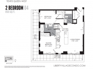 Ten93 Queen St West 2 bedroom floor plan 04 850 sq ft