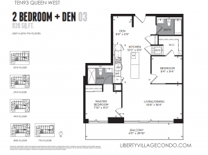 Ten93 Queen St West new construction 2 bedroom + den 03 floor plan 920 sq ft