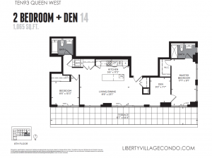Ten93 Queen Street West floor plan 14 for 2 bedroom and den 1065 sq ft