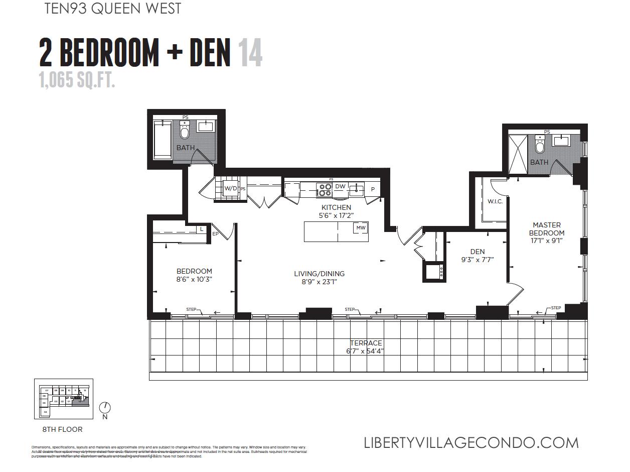 Ten93 Queen Street West floor plan 14 for 2 bedroom and den 1065 sq ftTen93 Queen West Pre Construction Condo   LIBERTY VILLAGE CONDO. 2 Bedroom Apartments For Rent Toronto Queen West. Home Design Ideas