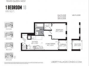 Ten93 Queen W 1 bedroom 18 460sf floor plan