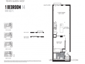 Ten93 Queen West 1 bedroom condo for sale 660 sq ft floor plan 14