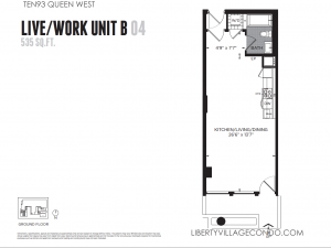 Ten93 Queen West LiveWork Unit B 04 Gr Floor Plan