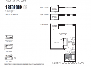Ten93 Queen West condo for sale 1 bedroom 535 sf floor plan 09