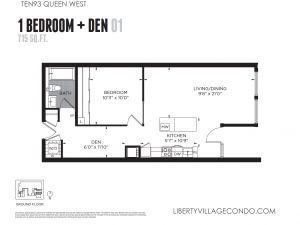 Ten93 Queen condo 1 bedroom+den 715 sq ft Gr Floor Plan 01