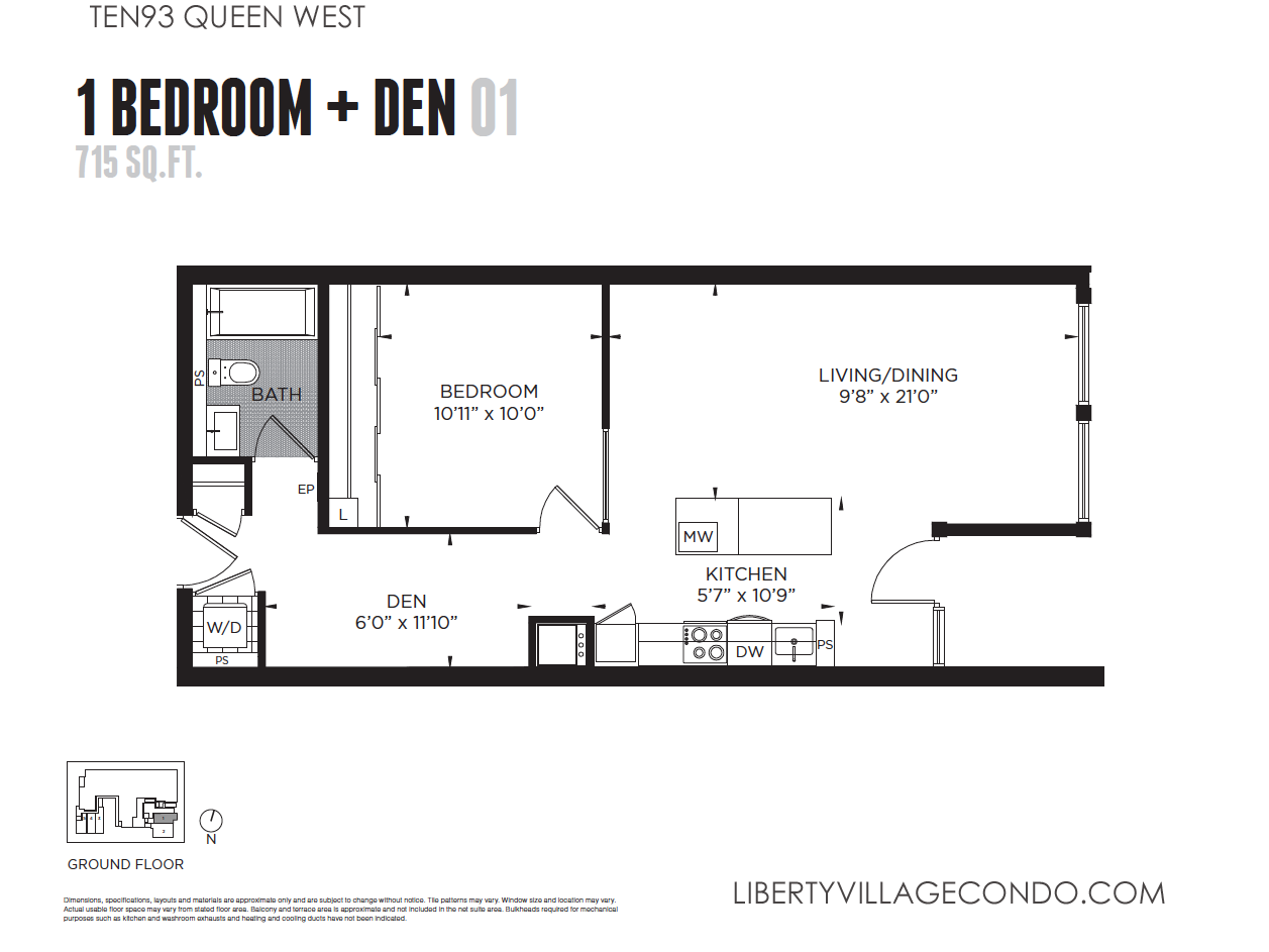 Ten93 queen west pre construction condo liberty village for 1 bedroom condo floor plans