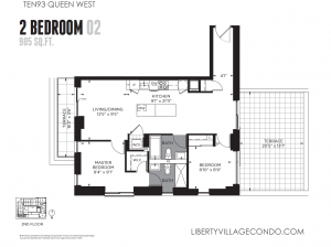 Ten93 floor plan 2 bed 2 bath two terrace 905 square feet