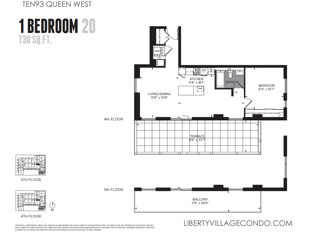 Ten93 queen west pre construction condo liberty village condo for 1 bedroom condo floor plans