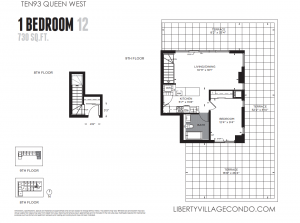 ten93 queen st w 1 bedroom large terrace floor plan 730 sq ft 12