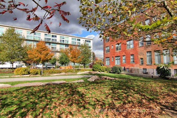 915 King St W and 954 King St W viewed from fall colours in Massey Harris Park