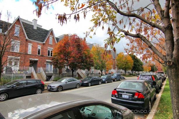 Sudbury St townhomes treelined streetview
