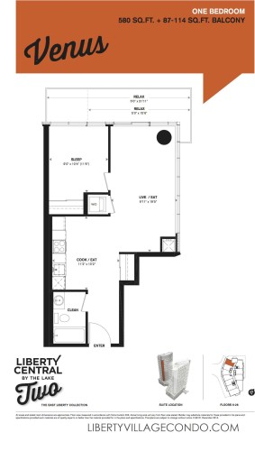 1 Bedroom floor plan at liberty central by the lake 2 condo_Venus