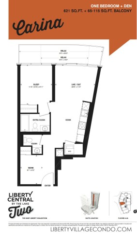 1Bedroom+Den floorplan for liberty central by the lake phase 2_Carina