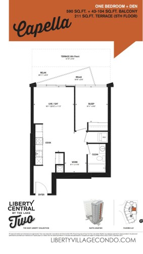 1Bedroom and Den floorplan for liberty central by the lake two_Capella
