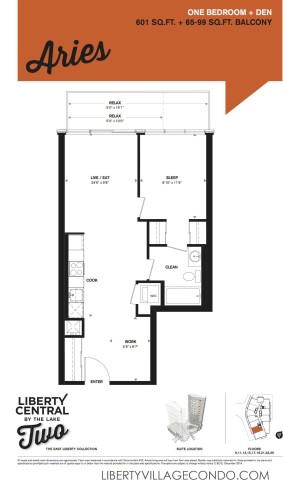 Floorplan for 1 Bed+Den_Aries at liberty central by the lake phase 2 condo