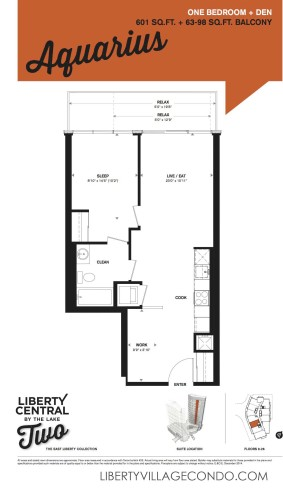 Floorplan for one Bedroom and den_Aquarius at liberty central by the lake phase 2
