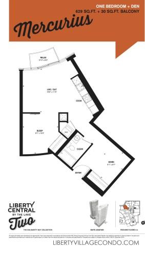 Liberty Central 2 condo floor plan 1 Bedroom+Den_Mercurius