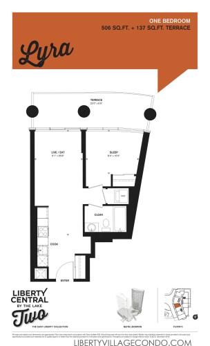 Liberty Central 2 condo floor plan 1 bedroom_lyra