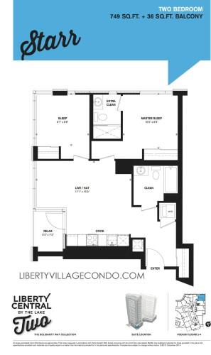 Liberty Central 2 floor plan 2 Bedroom_Starr