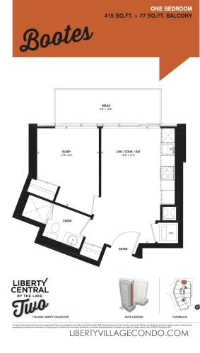 Liberty Central 2 floor plan for 1 Bedroom_Bootes