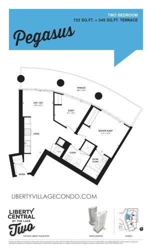 Liberty Central 2 floorplan for 2 Bedroom_Pegasus
