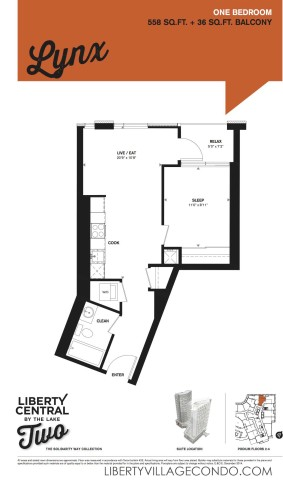 Liberty Central by the lake 2 1 Bedroom floor plan_Lynx
