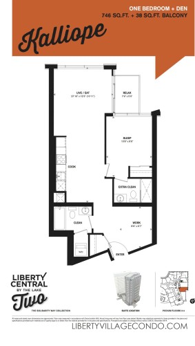Liberty Central by the lake 2 floor plan 1 Bedroom+Den_Kalliope