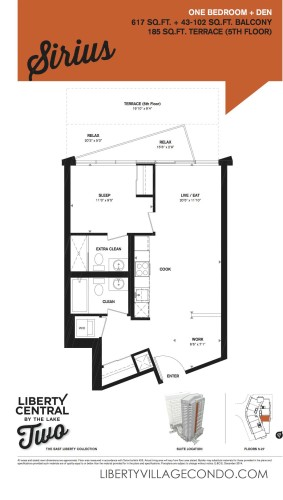Liberty Central by the lake 2 floorplan 1 Bedroom+Den_Sirius