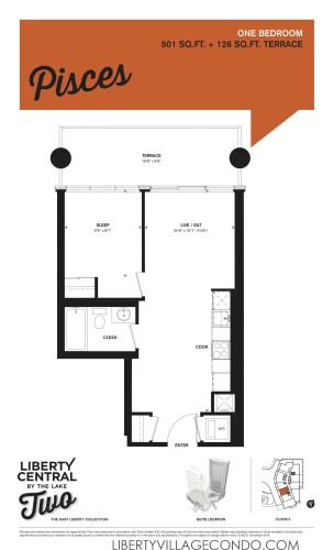 Liberty Central by the lake phase 2 floor plan 1 Bedroom_Pisces